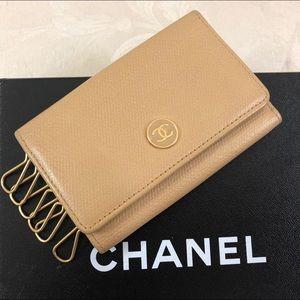 🆕 Chanel CC caviar leather key Case